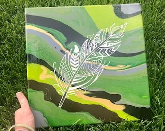 Mandala Style Feather Canvas Painting