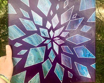 Jewel Tone Abstract Acrylic Painted Canvas - Shattered