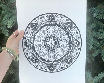 Black and White Peace and Nature Original Hand-Drawn Mandala