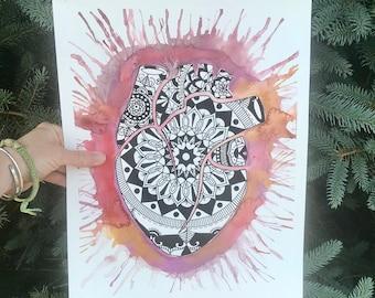 Realistic Heart Mandala