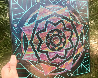 Black and Teal Mandala Painting on Fluid Background