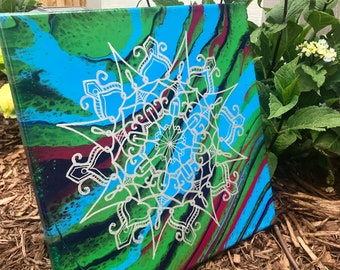 Metallic Silver Snowflake Mandala Acrylic Painting