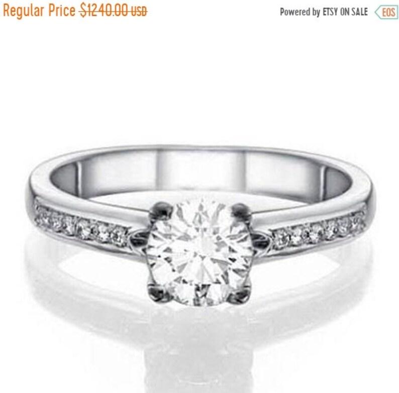 Valentines Sale Natural Diamond Engagement Ring 0 57 Carat Etsy
