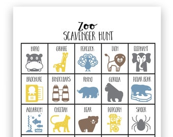 Zoo Scavenger Hunt Game - Instant Download