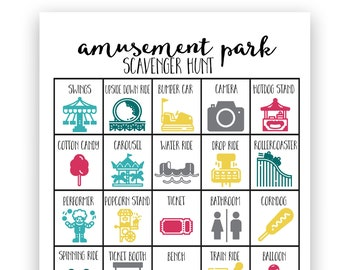 Amusement Park Scavenger Hunt - Instant Download