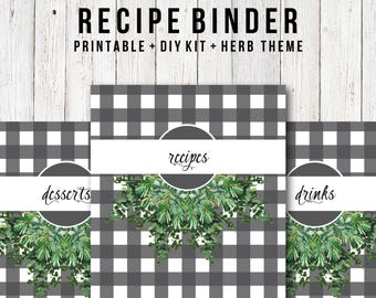 Recipe Binder Kit, DIY Recipe Organizer, Meal Planning, Herbs, Botanicals, Buffalo Check, Recipe Cards, Farmhouse Style, 8.5x11