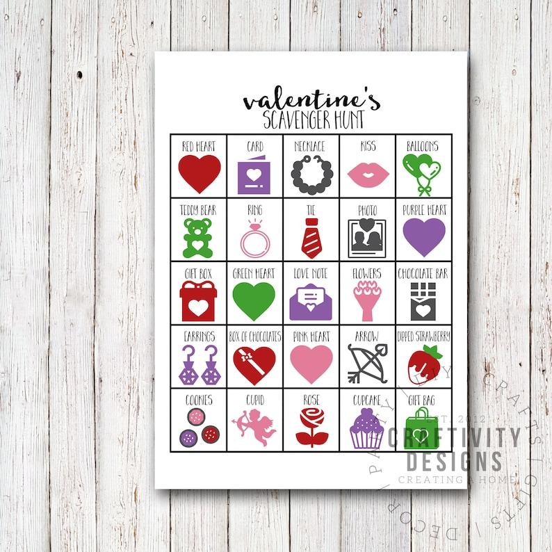 Valentines Day Scavenger Hunt for Kids Valentines Party Game image 0