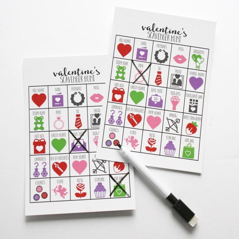 Set of 10 Valentines Scavenger Hunts for Kids Valentines image 0