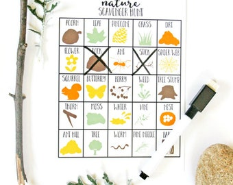 Nature Scavenger Hunt Game for Kids, Nature Party Game, Outdoor, Scavenger Hunt Birthday, Dry Erase (markers included) (Set of 10 or 25)