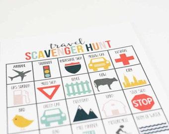 Travel Scavenger Hunt Game, Travel Game, Car Game, Road Trip Scavenger Hunt, Activities for Kids, INSTANT DOWNLOAD, 8.5x11