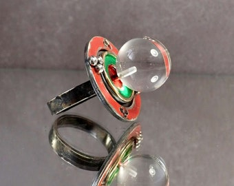 Lady Bute's Bed; Silver, 18ct gold & rock crystal ring.  UK size N, US size 61/2