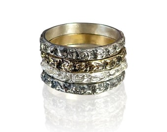 Niziblian Rocks Stackable silver or yellow gold rings