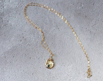 9ct recycled gold and teal sapphire nugget necklace