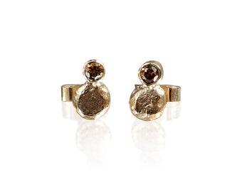 Handmade gold nugget & brown diamond stud earrings