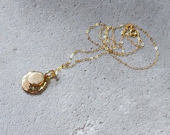 9ct recycled gold double nugget necklace