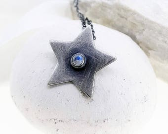 Moon star - moonstone and oxidised silver necklace