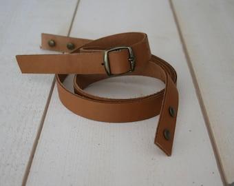 CAMEL colored leather adjustable shoulder strap
