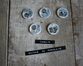 # 002 set of 5 small porcelain buttons