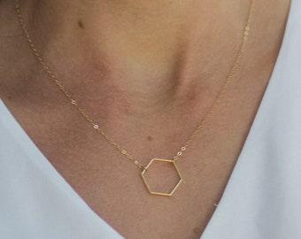 Hexagon necklace gold, Minimalist necklace, Minimalist jewelry, Geometric Necklace, Delicate necklace, Dainty gold necklace Minimal necklace