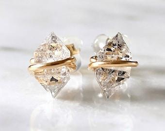 Herkimer diamond earrings, Herkimer earrings, Raw stud earrings Raw stone earrings, Crystal earrings, Raw diamond earrings, April birthstone
