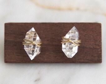 Extra Large Herkimer diamond earrings, Herkimer earrings, Herkimer studs, Raw stone earrings, Crystal earrings, Raw diamond earrings