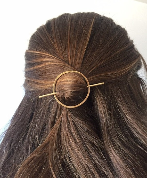 Open Circle Hair Clip, Circle Hair Barrette, Scarf Clip Slide, Copper Shawl Pin, Minimal Hair Pin, Minimalist Hair Accessories, Hair Slide by Etsy