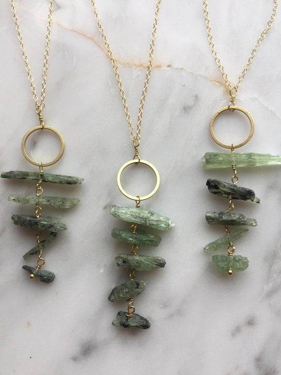 Green Kyanite wax chord neckalce