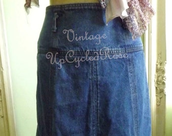 Blue Jean Baby Vintage Denim Skirt Hippie Bohemian lifestyle Festival wear Ready to Ship