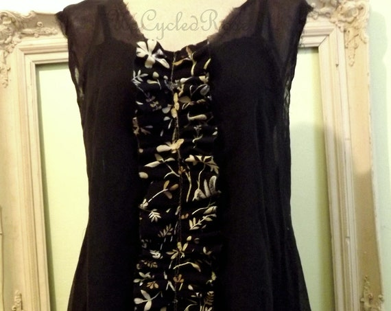 Midnight Rendezvous  3 Piece Laganlook Tunic Slip dress and Scarf Ready to Ship Resort Wear FREE USA Shipping
