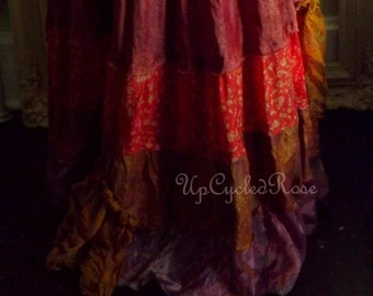 Jipcee Rosalee Got Upcycled Repurposed Reclaimed Gypsy Bohemian Peasant Skirt Ready to Ship Free Shipping in USA