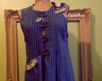 UpCycled Resort Wear Denim Tunic Bohemian Couture Ready to Ship
