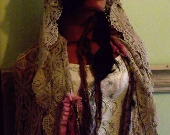 Heather's Woodland Bohemian Wedding Cloak Shabby Couture Forest Fairie Ready to Ship Today