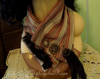 Up-cycled re-purposed Steam Punk Fashion Statement Bohemian Neck Wear FREE Shipping in USA