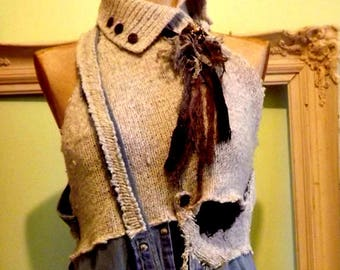 Up-cycled Repurposed Bohemian Trashion Geek Grundge Vest Top Ready to Ship