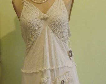 White Beaches Cotton Boho Sun Dress Hippie Wedding  Ready To Ship