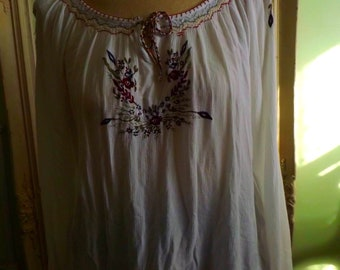 Vintage Peasant Blouse Hippie Inspired Bohemian Couture Free Next Day Shipping In USA