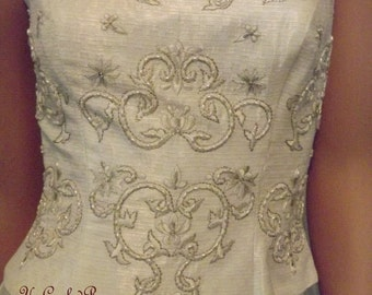 Victoria's Photo Shoot Vintage Corset Top Winter White Beaded Embroidered Shabby Couture Fashion