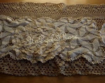 Vintage Crochet Table Runner Layered Up-cycled Chic Free Shipping in USA Next Day Shipping