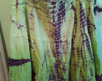 Tie Dyed Hippie UpCycled Bohemian Summer Skirt Ready to Ship