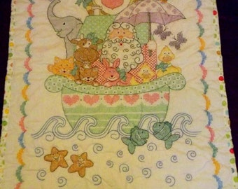 Hand Made Cross Stitched Heirloom Baby Quilt Noah's Ark Ready to Ship World Wide
