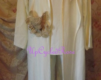 Misty In  Moon Light 3 Piece Ivory Second Wedding Pant Suit UpCycled Lace Small USA