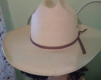 Vintage Summer Straw Hat Cowgirl Glam Bailey 7.5 made in USA