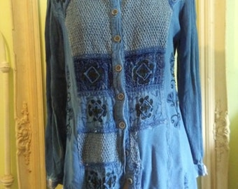 Faded Glory Vintage Hippie UpCycled Bohemian Tunic Ready to Ship Free USA Shipping