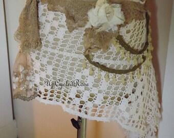 ShabbyCouture Wrap Skirt Bohemian Mori Girl  Ready to Ship