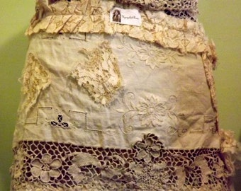 Lacy's New Life Up-Cycled Vintage Lace Shabby Couture Art Tp Wear Hip Wrap by UpCycledRose