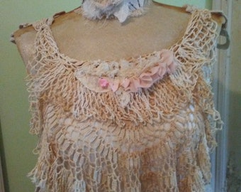 Summer Romance Bohemian Resort Collection. Vintage RePurposed Crochet Crop Top. Free Shipping in USA Ready to Ship