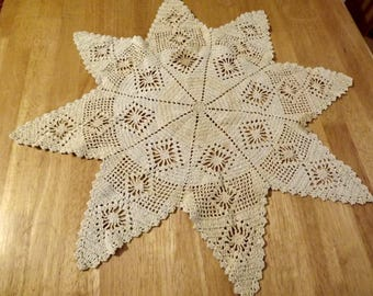 Vintage Hand Crochet Star Table Topper Farmhouse Collection Ships Free in USA Next Day