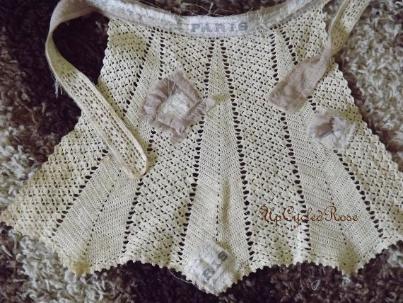 Paris Can't Wait Up-Cycled Vintage Crochet Apron Tea Stained Shabby Couture