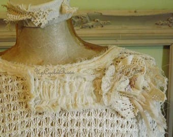 Up-cycled Linen and Lace Shabby Couture Art To Wear Tunic Top Ready to Ship Boho Resort Wear