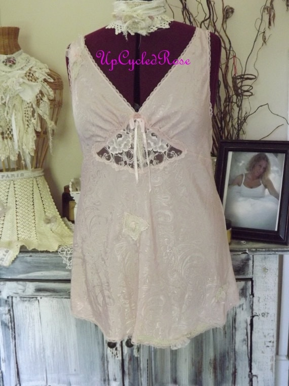CLEARANCE Ma Cheri Vintage Silk Lingerie Up-Cycled Rose Shabby Couture Romantic Plus Size